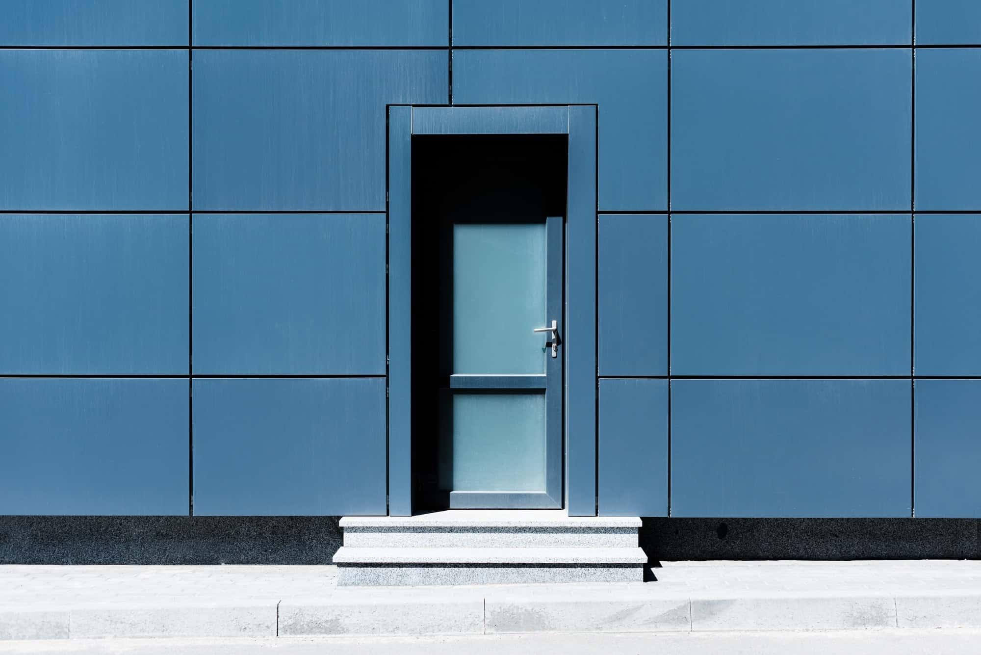 Entrance door in modern glass building